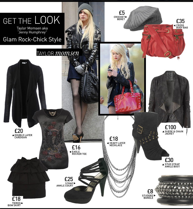 "Get the Look - Taylor Momsen aka ""Jenny Humphrey"" - Glam Rock-Chick Style"